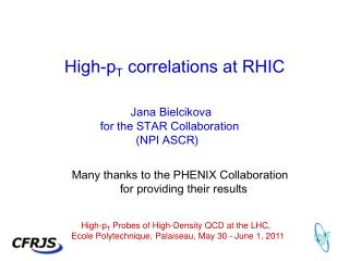 High- p T  correlations at RHIC