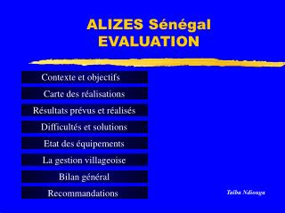 ALIZES S�n�gal  EVALUATION