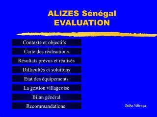 ALIZES Sénégal  EVALUATION