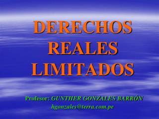 DERECHOS REALES LIMITADOS Profesor:  GUNTHER GONZALES BARRÓN hgonzales@terra.pe