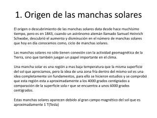 1. Origen de las manchas solares