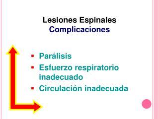 Parálisis  Esfuerzo respiratorio inadecuado  Circulación inadecuada