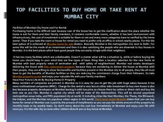 Top Facilities to Buy Home or Take Rent at Mumbai City