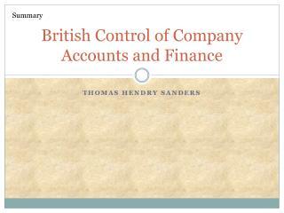 British Control of Company Accounts and Finance