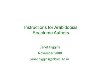 Instructions for Arabidopsis Reactome Authors