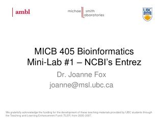 MICB 405 Bioinformatics Mini-Lab #1 – NCBI's Entrez