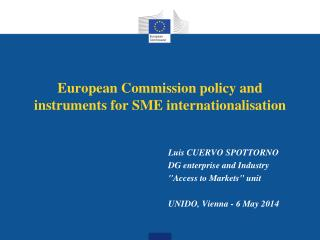 European Commission policy and instruments for SME internationalisation