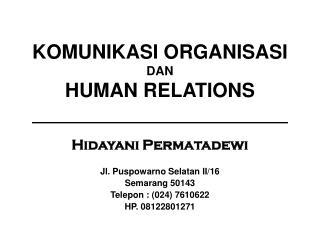 KOMUNIKASI ORGANISASI DAN HUMAN RELATIONS