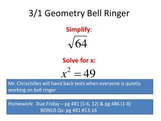 3/1 Geometry Bell Ringer