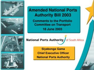 Amended National Ports Authority Bill 2003