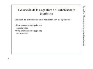 Evaluación de la asignatura de Probabilidad y Estadística