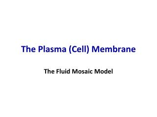The Plasma (Cell) Membrane