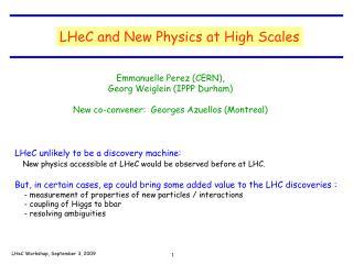 LHeC Workshop, September 3, 2009