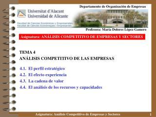 TEMA 4 ANÁLISIS COMPETITIVO DE LAS EMPRESAS