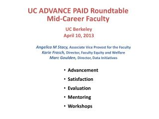 UC ADVANCE PAID Roundtable Mid-Career Faculty