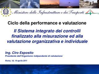 Ing. Ciro Esposito Presidente dell'Organismo indipendente di valutazione  Roma, 18, 19 aprile 2011