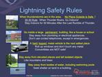 Lightning Safety Rules