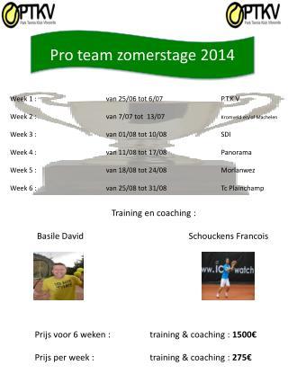 Pro team  zomerstage  2014