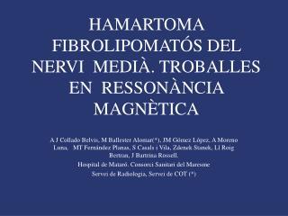 HAMARTOMA FIBROLIPOMAT S DEL NERVI  MEDI . TROBALLES  EN  RESSON NCIA MAGN TICA