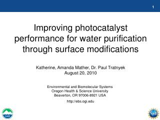 Improving photocatalyst performance for water purification through surface modifications