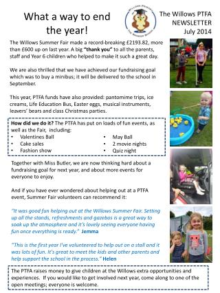 The Willows PTFA NEWSLETTER July 2014