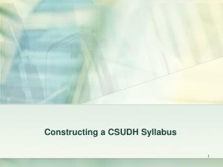 Constructing a CSUDH Syllabus