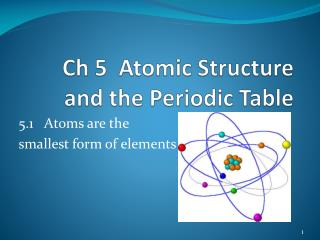 Ch 5  Atomic Structure and the Periodic Table