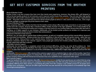 Get Best Customer Services From The Brother Printers