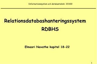 Informationssystem och databasteknik  2I1100
