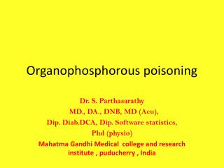 Organophosphorous poisoning