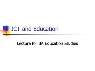 ICT and Education