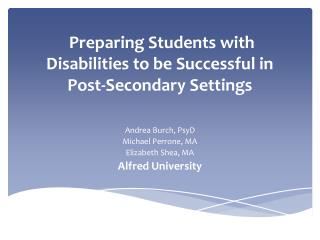 Preparing Students with Disabilities to be Successful in Post-Secondary Settings