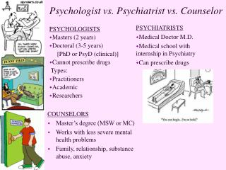 Psychologist vs. Psychiatrist vs. Counselor