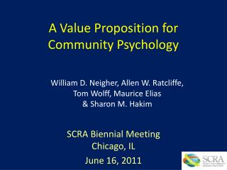 A Value Proposition for Community Psychology