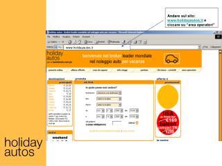 "Andare sul sito:  holidayautos.it  e ciccare su ""area operatori"""