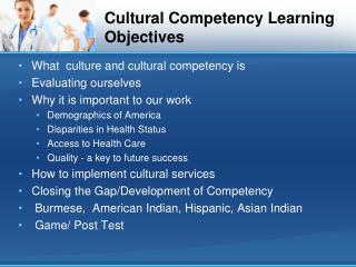 Cultural Competency Learning Objectives