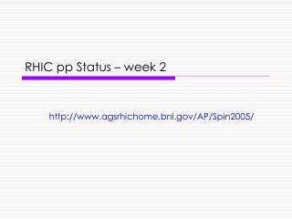 RHIC pp Status – week 2