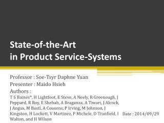 State-of-the-Art  in Product Service-Systems