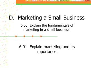 D.  Marketing a Small Business