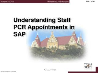 Understanding Staff PCR Appointments in SAP