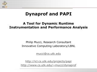 Dynaprof and PAPI A Tool for Dynamic Runtime  Instrumentation and Performance Analysis