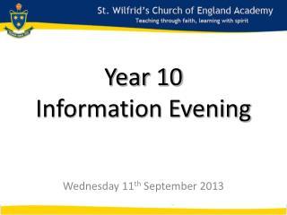 Year 10 Information Evening