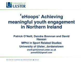 ' eHoops' Achieving meaningful youth engagement in Northern Ireland