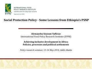 Alemayehu Seyoum Taffesse  International Food Policy Research Institute (IFPRI)