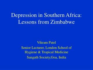 Depression in Southern Africa: Lessons from Zimbabwe