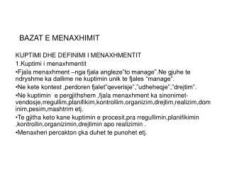 BAZAT E MENAXHIMIT