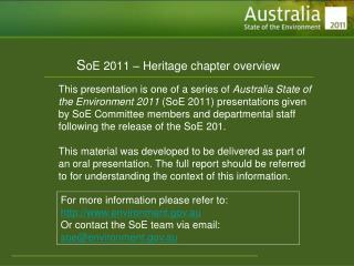 S oE 2011 – Heritage chapter overview
