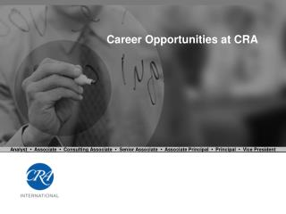 Career Opportunities at CRA