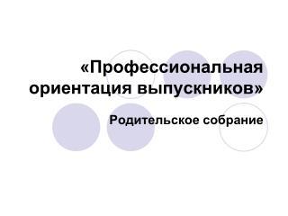 «Профессиональная ориентация выпускников»