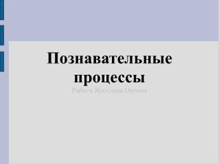 Познавательные процессы Работа Ярослава Орлова